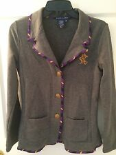 RALPH LAUREN BLUE LABEL MEDIUM GREY COTTON BLEND MONOGRAM JACKET W/RIBBON TRIM