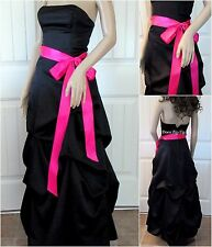 Strapless Formal Black Dress Long Evening Gown Party Bridesmaid Wedding Prom Sz1