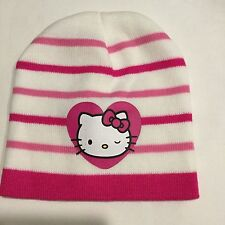 Girl's Hello Kitty Knit Beanie Hat Cap One Size Fits Most Pink Striped Sanrio