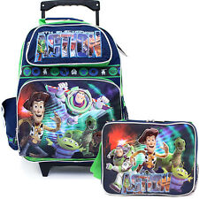 "Disney Toy Story 16"" Large  School Roller Rolling Backpack Lunch Bag Set -Action"