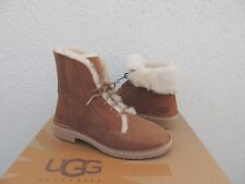 UGG QUINCY CHESTNUT SUEDE/ SHEEPSKIN WINTER ANKLE BOOTS, US 7/ EUR 38 ~NIB