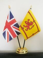 UNION JACK AND SCOTLAND LION TABLE FLAG SET 2 flags plus GOLDEN BASE SCOTTISH