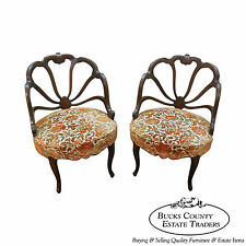 Vintage Hollywood Regency Pair of Barrel Spider Back Chairs