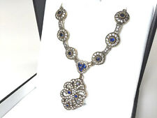 """Estate Sale! Turkish Sterling Blue & White Simulated Fashion 18"""" Necklace"""