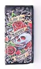 Tattoo Inspired Print Cotton TriFold Wallet~Skull~Rose~Studs~Biker~Goth~Punk~BLK