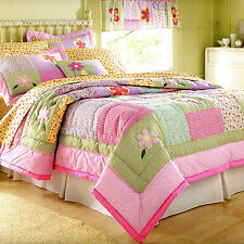 DORINDA Twin (Single) QUILT SET :TEEN GIRLS COOL PINK PURPLE FLOWER BEDDING