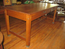 "Large Antique Oak School Lab Industrial Drawing Table 36"" Library Kitchen Island"