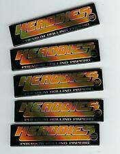 FIVE PACKS of HEADDIES Premium KING SIZE Slow Burning Lightweight Rolling Papers