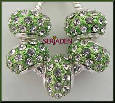 5 Green Clear Crystals Bead Charms 9 * 14 & 5 mm Hole Fits European Jewelry R073