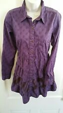 Ryan Michael purple western shirt dress long sleeve size S
