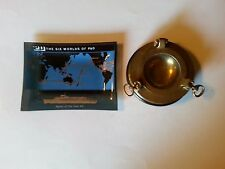 Vintage 1969 P&O Cruises glass DISH PENINSULAR ORIENTAL BRASS PORTHOLE ASHTRAY