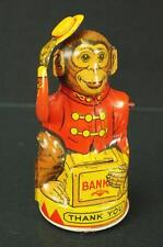1950S J. CHEIN MONKEY BANK COMPLETE AND WORKING TIN TOY WITH COIN TRAP