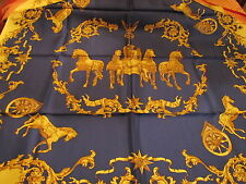 "VINTAGE MONDI Roman Horses Navy Blue Yellow Brown SILK SCARF 35X35"" France"