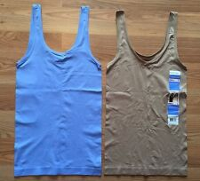 NWT Women's ELLEN TRACY Medium Blue Nude 2 Pc Reversible Tank Top Camisole XL