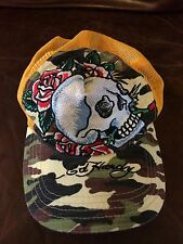 Ed Hardy Adjustable Snapback Trucker Mesh Hat Cap Yellow Floral Skull Camo