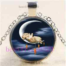 Rabbit  Sweet Dream Cabochon Glass Tibet Silver Chain Pendant Necklace