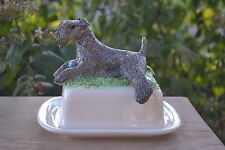 Kerry Blue terrier. Handsculpted ceramic butter/cheese dish,..LOOK