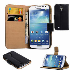 Genuine Leather Flip Wallet Thin Cover Stand Case For Samsung Galaxy S4 - BLACK
