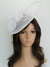New Church Derby Cocktail Sinamay Fascinator Hat w headband 3070 White