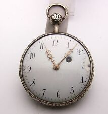 Large Silver French Open Face Verge Fusee Quarter Repeater Project, 57mm
