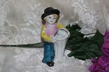OCCUPIED JAPAN Boy With Hat Vase Planter Vintage Ceramic Porcelain