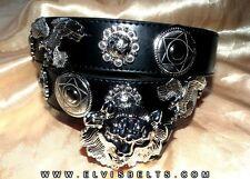 Elvis Style Silver Lion & Eagle Western Concho Belt