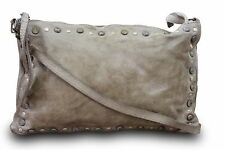 Made in Italy Clutch Cossbody Bag Vintage Used Look Leder Natur