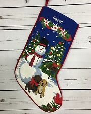 HAZEL Needlepoint Christmas Stocking Snowman Lab Puppy Dog Lined Red Velvet Back