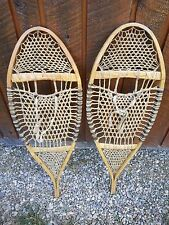 """ANTIQUE Snowshoes 33"""" Long by 12"""" Wide with VERY DIFFERENT WEBBING"""