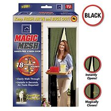 Geniune Mágico Puerta Ventana Malla Negra volar Mosquito Protección Netting magnético