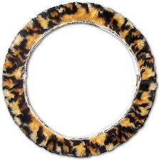 Gold Black Leopard Soft Faux Fur Universal Car Truck Steering Wheel Cover swcx