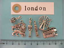 6 tibetan silver London charms London eye palace guard Big Ben royal crown bus