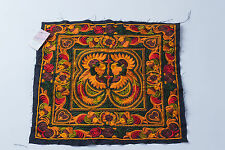 Orange Bird Hmong Embroidered Fabric Hill Tribe Ethnic Fashion Style Thailand