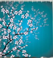 Japanese Cherry Blossoms Fabric SHOWER CURTAIN Flower Tree Teal Floral Bathroom