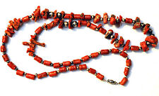 Antique Natural Red Coral & Sponge Coral with Sterling Silver Beads Necklace