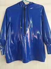 Latex Rubber Gummi Navy blue Stylish Top Young Zipper Hat Coat Size XS-XXL