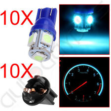 10Pcs Ice Blue 5SMD LED Dash Gauge Cluster Light Bulb w/ Lock Socket T10 168 158