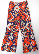 Vintage 70s Orange/Blue Graphic Mod Print Barkcloth Wide Leg Bell Bottom Pants S