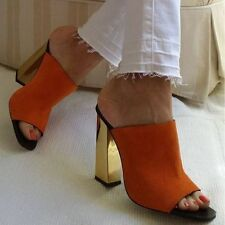 ZARA ORANGE LEATHER MULE SANDALS /SHOES WITH GOLDEN EFFECT HIGH HEEL