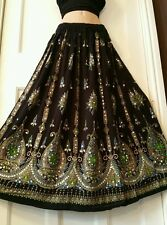 Ladies Indian Boho Hippie Long Sequin Skirt Rayon Black&Green inset color