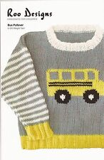 Roo Designs Bus Pullover Sweater KNITTING PATTERN Uses DK Yarn for 6mos-6yrs