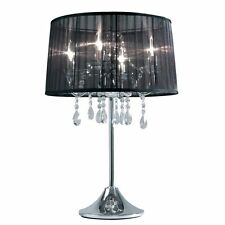 Hockerleuchte Kristallglas Tischleuchte Kristalllampe Tischlampe Dimmbar Organza