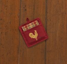 (1) Quilted Cotton Kitchen Pocket Potholder Towel Set Rooster Rise n Shine