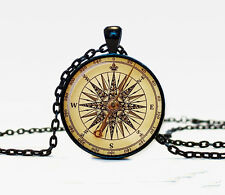 New Watch Compass Charm Glass Dome Cabochon Black Chain Necklace Pendant #2