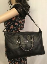 COACH ASHLEY LARGE LEATHER BLACK CONVERTIBLE SATCHEL #F15447
