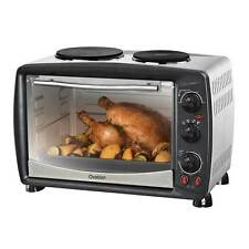 Portable Benchtop Electric Oven with Double Hot Plates Toaster Roast Bake Grill