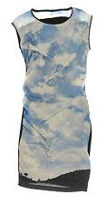Sommerkleid blau weiß N3 MARC CAIN Seidenkleid Gr.38 schwarz Himmel Wolken SEIDE