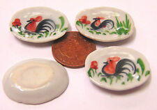 1:12 Scale 4 Cockerel Plates Doll House Miniature Ceramic Kitchen Accessory C14