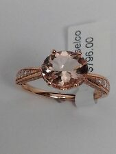New 14k Rose Gold Oval Shape Morganite and 0.33ct twt Diamond Pave Ring Size 7