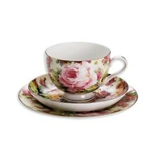 Teegedeck WILDROSE 3-teilig / Teetasse + Untertasse + Kuchenteller / Royal old E